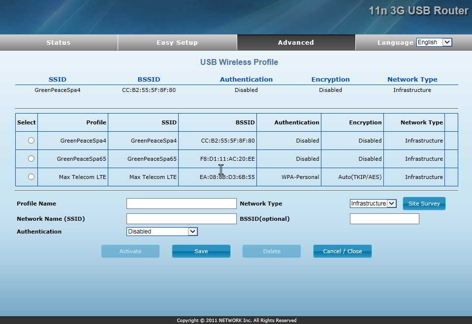11n 3G USB Router configuration USB WLAN Profile